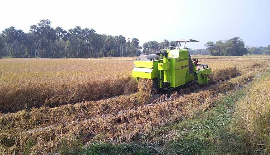 Farmers harvesting organic paddy ripe rice farmland with the combine harvester. India has had a bumper crop year in 2020.  Indian Manufacturing gets its skates on