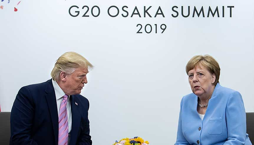 Federal Chancellor Angela Merkel (r, CDU) and Donald Trump, President of the United States of America (USA), at the G20 summit in 2019. In a rare occurrence the US and Germany blocked China's resolution based on a bogus claim by Pakistan that blamed India, a newly elected non-permanent member of the Council, for a terror attack in Baluchistan.