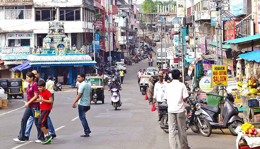 Main Street in Port Blair, capital of Andaman Islands. Roads are being widened and several bridges being constructed, opening opportunities for tourism in previously inaccessible parts of the main island.
