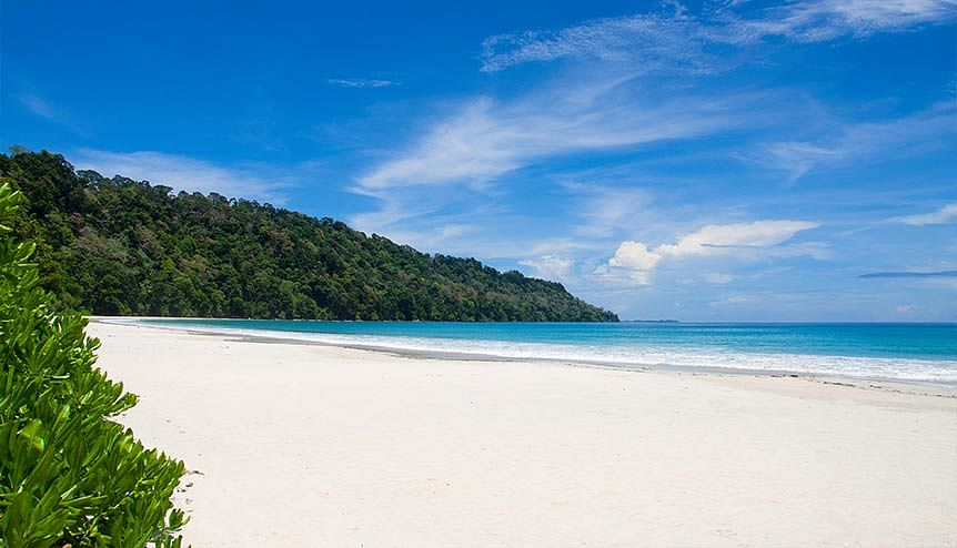 Radhanagar beach of Havelock Island, the island is 41 km northeast of the capital city, Port Blair, Andaman and Nicobar Islands, India. NITI Aayog proposed a $200 million infrastructure plan to explore opportunities in the islands to set up resorts, water villas, jetties and helipads.