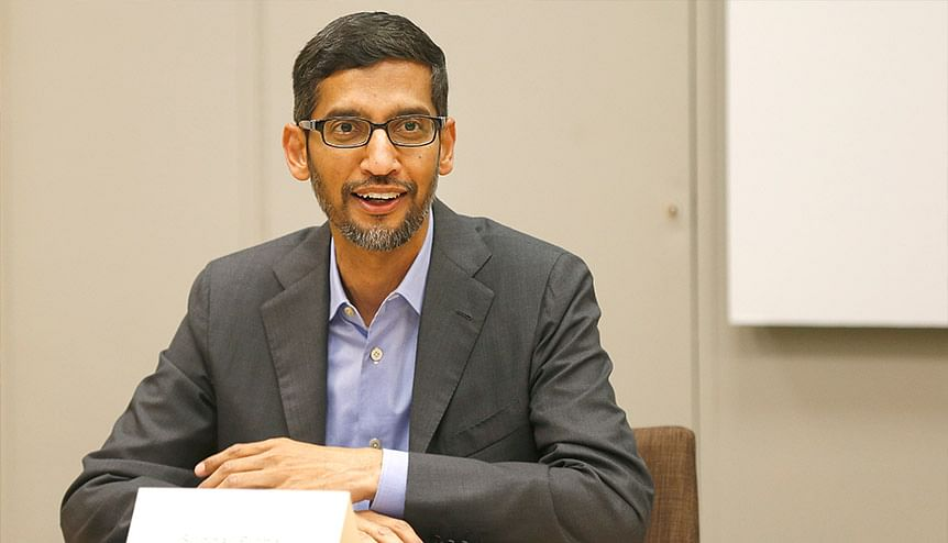 Sundar Pichai, CEO, Alphabet, Google's parent company at a roundtable in Dallas, Texas. Google recently announced $10bn investment into India.