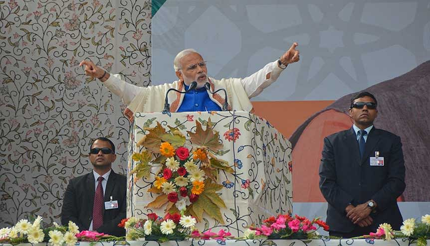 Indian Prime Minister Narendra Modi at a public rally in Srinagar. India has made several overtures for peace with Pakistan but they have been reciprocated by acts of hostility.
