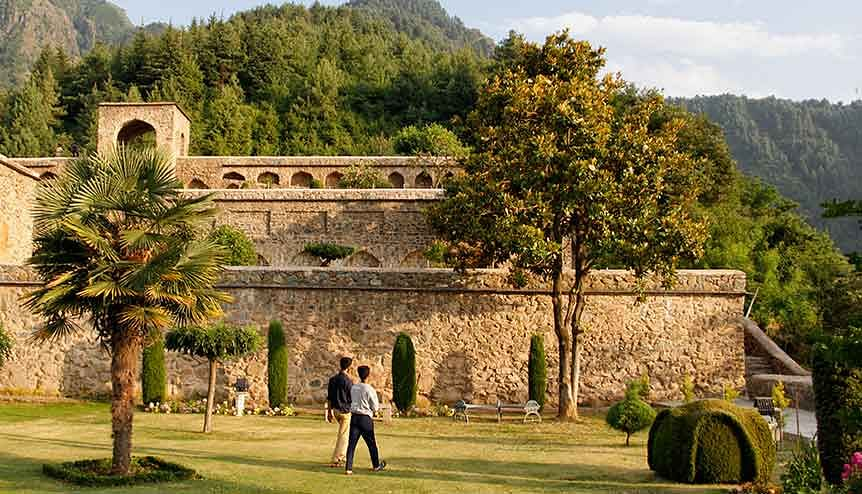 Visitors walk inside Pari Mahal in Srinagar. Investments around $2 billion have been earmarked for Kashmir, via global expressions of interest, across multiple industries, including tourism.