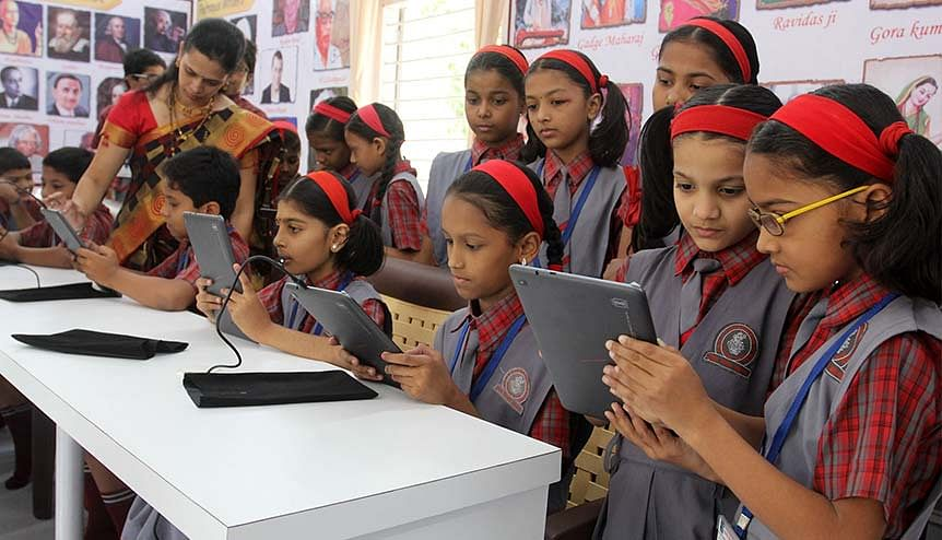 Students of the Brahman Shikshan Mandal English Medium School stepped into their library with excitement to witness the technological change. Covid-19 has dramatically accelerated digital adoption in the Indian education landscape.