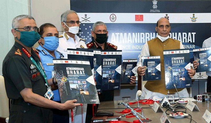 Defence Minister Rajnath Singh with CDS General Bipin Rawat, Army Chief General MM Naravane, Air Chief Marshal RKS Bhadauria, Navy Chief Admiral Karambir Singh during the Atmanirbhar Bharat initiatives of MoD at Defence Industry Outreach. With a larger public holding in the company will come greater accountability.