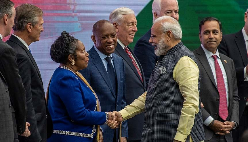 Indian Prime Minster Narendra Modi is greeted by U.S. Rep. Sheila Jackson Lee (D-TX) onstage at NRG Stadium during a rally on September 22, 2019 in Houston, Texas. The rally demonstrated that both Democrats and Republicans value the Indian vote and will walk the extra mile to try and grab it.
