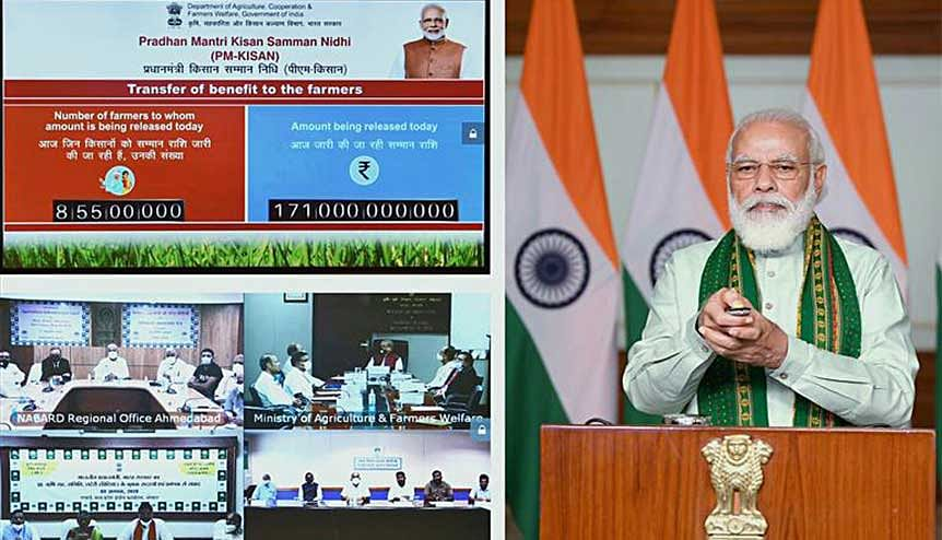Prime Minister Narendra Modi at the launch of the financing facility of Rs.1 Lakh crore under Agriculture Infrastructure Fund through video conferencing. Under this new project Indian farmers are now ready to become entrepreneurs.