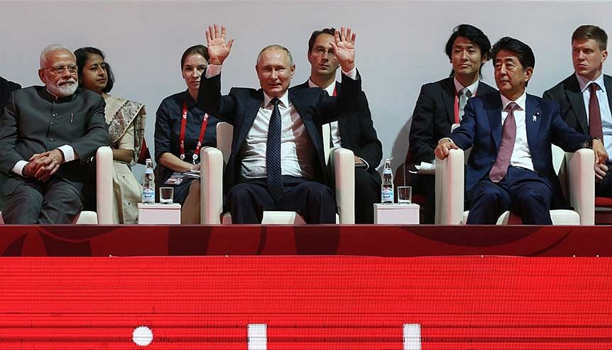 Narendra Modi, Vladimir Putin and Shinzo Abe at the Eastern economic Forum in Vladivostok. India is wooing Russia to be an important part of a tri-lateral track with Japan.