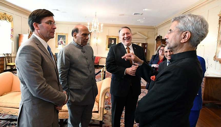Defence Minister Rajnath Singh, External Affairs Minister Dr S Jaishankar, US Secretary of State Michael Pompeo and US Secretary of Defense Dr Mark Esper at the India-US 2+2 dialogue in Washington. Both parties reaffirmed India's status as major Defence Partner thus elevating ties even further.