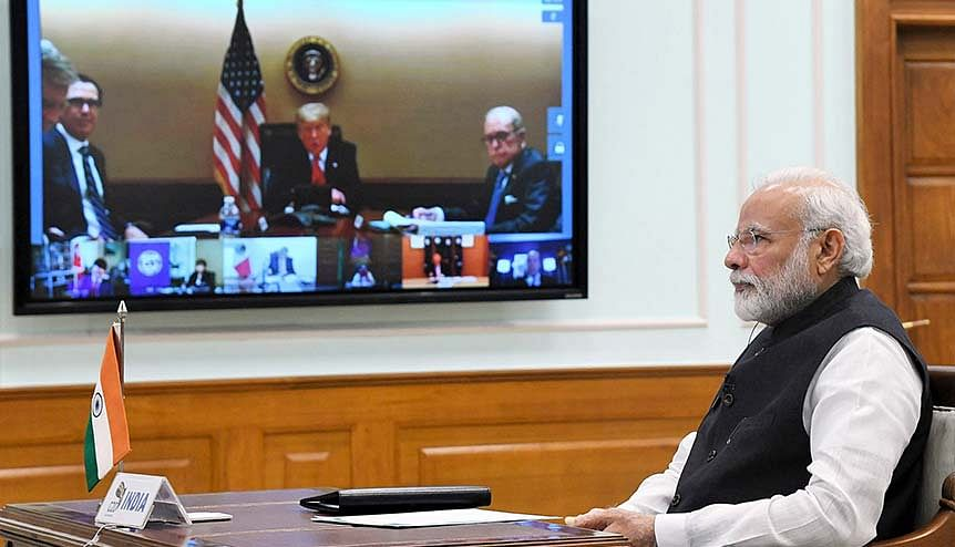 Indian prime minister Narendra Modi participating in the G20 Virtual Summit to discuss the global response to COVID 19. India and the US have supported each other on multilateral organisations with regularity.