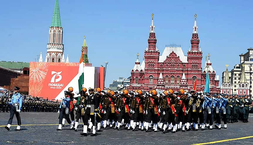 Indian Tri-Service contingent taking part in Victory Day Parade at Red Square to commemorate the 75th Anniversary of the victory of Soviet people in the Great Patriotic War of 1941-1945, in Moscow.