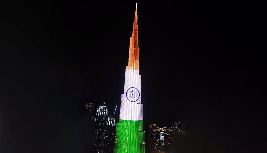 An illuminated view of Burj Khalifa in the colours of the Indian National Flag on the occasion of India′s 74th Independence Day in Dubai. India and UAE's ties date back to centuries and are evolving across multiple platforms periodically.