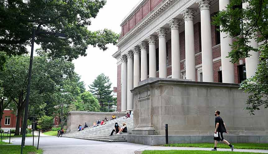 A view of Harvard Yard in Harvard University. Indian students opt to study abroad due to the quality of education, higher acceptance rates and because most Indian colleges follow outdated syllabi and lack quality faculty.