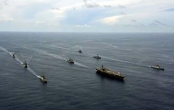Indian navy holds passage exercise with US navy′s Nimitz aircraft carrier in the Indian Ocean.