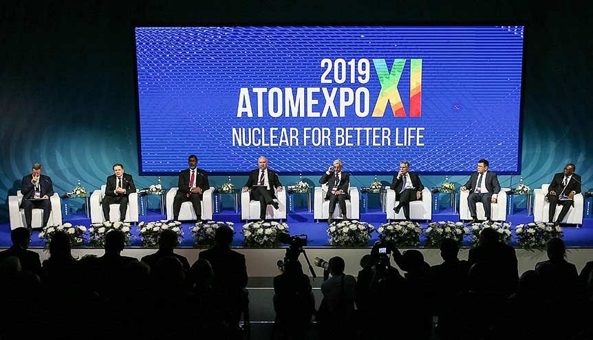"""Delegates attend a plenary session titled """"Nuclear Technologies for Better Life"""" as part of the 11th Atomexpo International Forum at Sochi's Olympic Park. The Modi government has built on civil nuclear agreements with key suppliers including Uzbekistan, Mongolia, Canada and Namibia to ink supply contracts."""