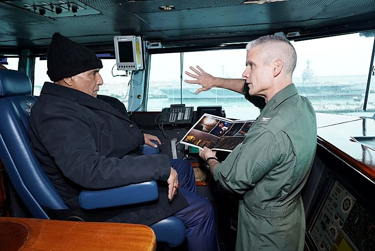 India's defence minister Rajnath Singh is briefed aboard the US Nimitz-class aircraft carrier USS Dwight D. Eisenhower. The Quad should be an opportunity for India to seek opportunities outside of the official coalition given that the geo-politics in the region are changing rapidly.