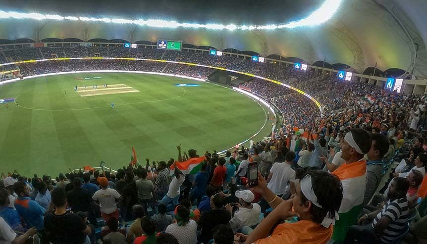 Indian cricket fans come out in force to cheer the Indian cricket team in the UAE. India has used sport as a soft power to further bilateral ties in the GCC and with other nations.