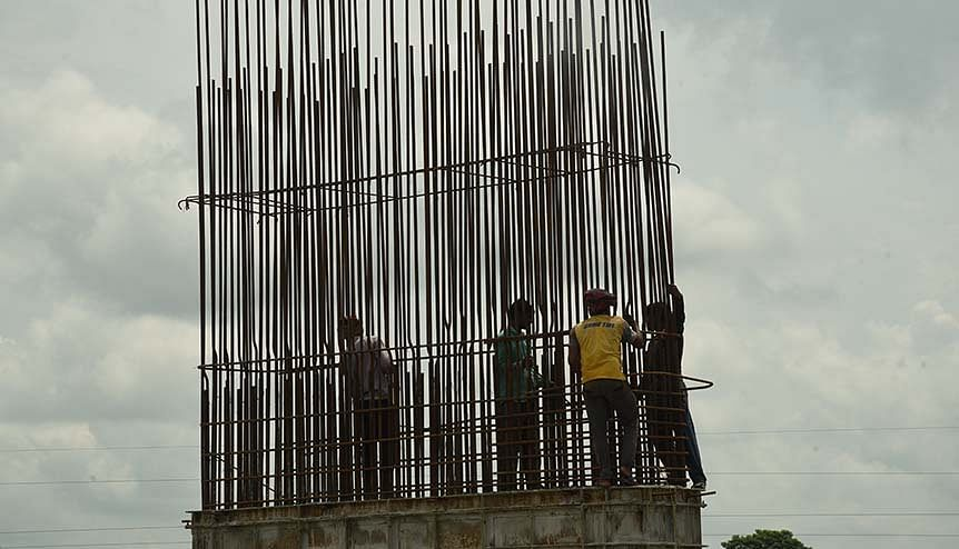 Labourers work on a construction site in Port Blair, in the Andaman and Nicobar Islands, India. The upgrade of infrastructure in A&N is a key part of the Modi government's Act East Policy.