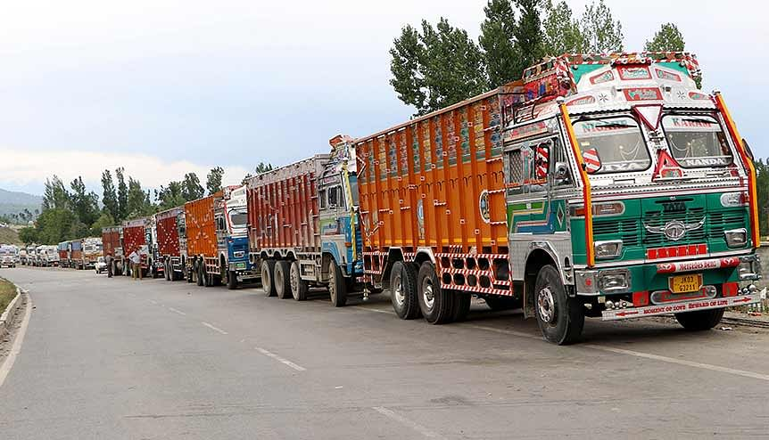 Trucks on the Jammu -Srinagar national highway. Connectivity is improving rapidly. Investors have been invited to come forward and stake a claim in the economic progress of J&K.