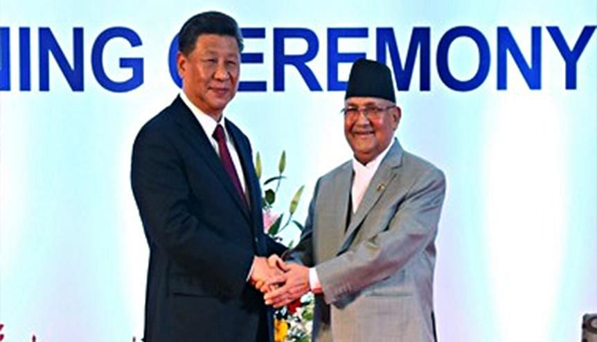 Chinese President Xi Jinping with Nepalese Prime Minister K.P. Sharma Oli. The latter is now reaching out to India to further bilateral ties through economic engagement.