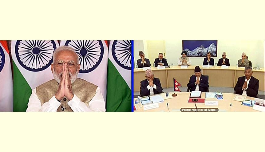 Narendra Modi jointly inaugurates the first ever cross-border petroleum products pipeline in South Asia, the Motihari-Amlekhganj (Nepal) petroleum product pipeline, with KP Sharma Oli via video conferencing last year. The project was completed 15 months ahead of the scheduled 30 months deadline.