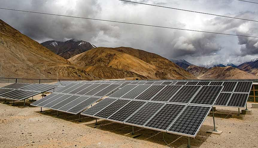Solar panels in Yarat village in Ladakh, India. This region known as the roof of the world has huge potential in tapping solar energy. By that logic, it has scope for attracting private finance.