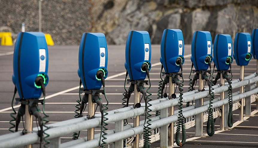 Charging stations for electric cars seen in Gothenburg. The demand for electricity in Sweden is rising due to higher preference for electric vehicles and the consequent need for setting up charging stations.