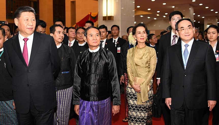 Chinese President Xi Jinping, Myanmar President Win Myint, and Myanmar State Counsellor Aung San Suu Kyi at the 70th anniversary of diplomatic relations between Myanmar and China. Despite China's presence India has the scope to deepen ties with Myanmar in the energy space.