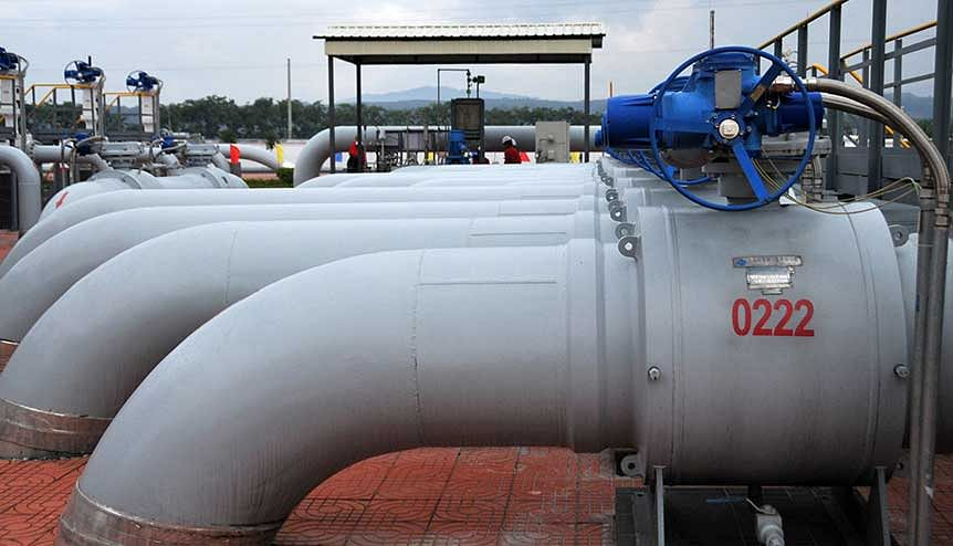 View of the pipelines that transport oil and natural gas from the port of Kyaukpyu in Myanmar to China's south-west Yunnan province. India could supply Myanmar with gas from their own fields, while building a new pipeline that connects with India's $900 million Northeast Gas Pipeline Grid, which is under construction.