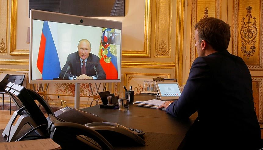 French President Emmanuel Macron listens to Russian President Vladimir Putin during a video conference. Both France and Russia, along with the US and UK are backing India's candidature at the UNSC.