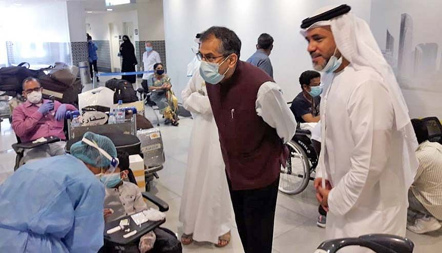 Indian Ambassador in the UAE, Pavan Kapoor checks the medical screening process for returning Indian nationals under Vande Bharat Mission. The UAE and India have many convergences including healthcare.