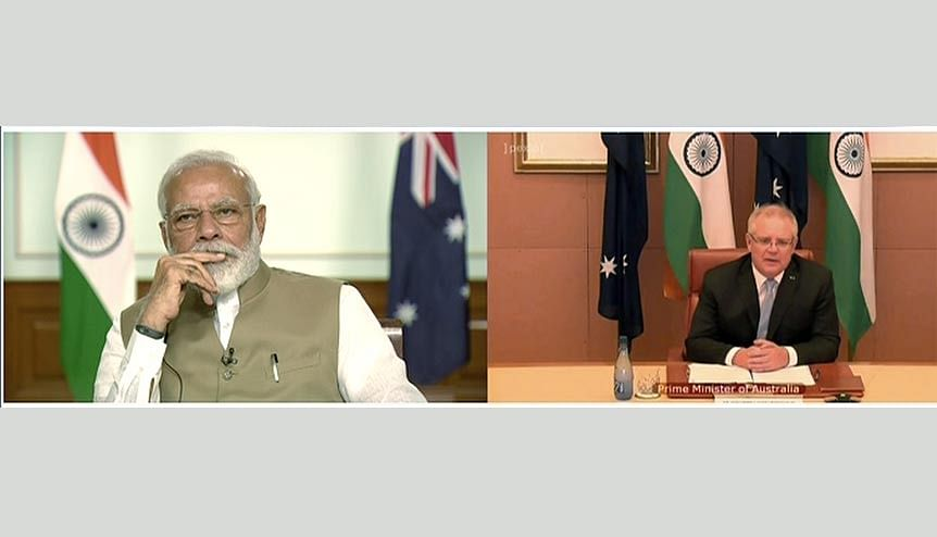 Prime Minister Narendra Modi during ′India-Australia Virtual Summit′ with Australia PM Scott Morrison via a video conference in June this year. Australia has become the latest victim of Beijing's aggression.