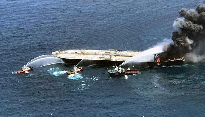 Indian Coast Guard trying to put out the fire which broke out on a Sri Lankan oil tanker. The Indian navy and coast guards that patrol the neighbouring area were the first to help in carrying out rescue efforts.