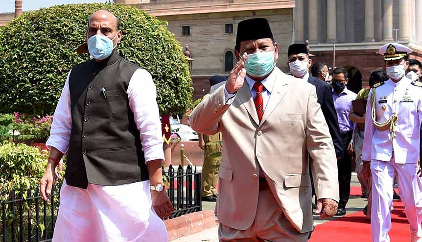 Indian defence minister Rajnath Singh with his Indonesian counterpart General Prabowo Subianto. New Delhi's ties with Indonesia display a marked shift in the post Covid geopolitics of the region.