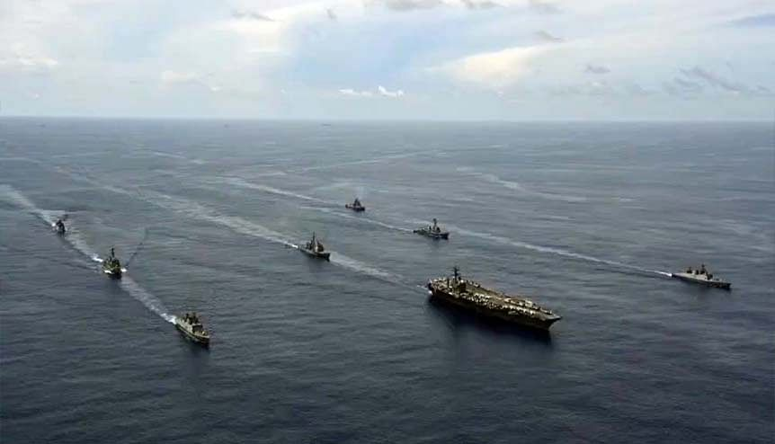 Indian and US navy hold exercises in the Indian Ocean. India has deployed a warship in the South China Sea following its border clashes with China.
