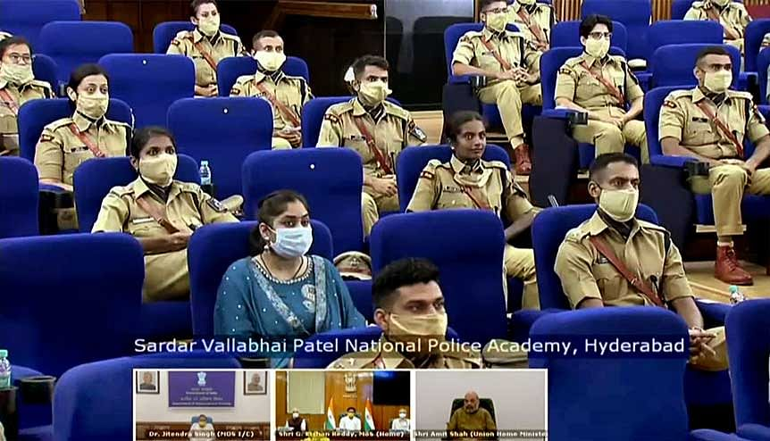 Young IPS officers at Sardar Vallabhbhai Patel National Police Academy, Hyderabad interact with Home Minister Amit Shah and other senior ministers. The new National Programme for Civil Services Capacity Building will facilitate the linking of training and development to the competencies of civil servants to officers at lower grades.