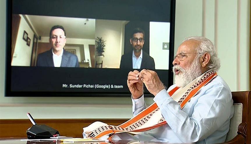Prime Minister Narendra Modi interacts with Google CEO Sundar Pichai, via video conferencing. Western companies are aligning with Modi's vision of self reliance.