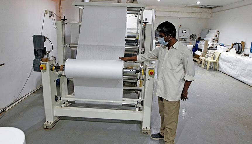 A machine used for making materials for the N-99 face mask installed under the ATIRA (Ahmedabad Textile Industry's Research Association) in Ahmedabad. Textile startups are roaring back into the industry mainstream.