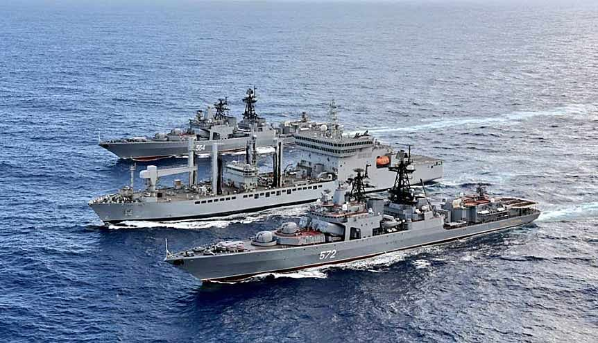 INS Ranvijay, Shakti and Russian naval Ships Admiral Vinogradov, Admiral Tributs and Boris Butoma carrying out exercises at sea between India and Russia. Moscow continues to provide steadfast support to India's defence and strategic requirements.