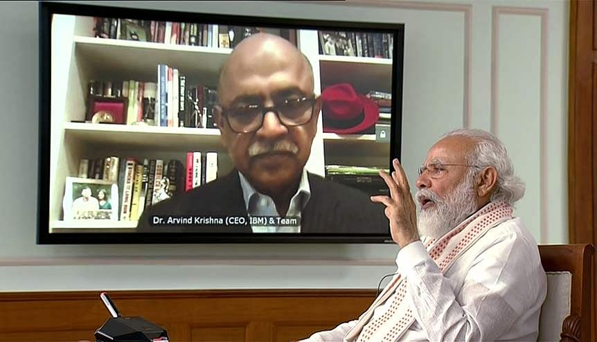 Prime Minister Narender Modi interacted with IBM CEO Arvind Krishna via video conferencing. The Modi Government has signed an agreement with IBM to carry out a Train-the Trainer programme in basic artificial intelligence throughout India.