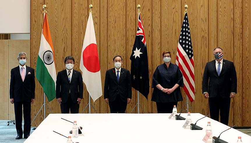 External Affairs Minister Dr S. Jaishankar with Japanese prime minister Yoshihide Suga and other Quad Foreign Ministers, in Tokyo. The officials discussed the bilateral and global dimensions of the India-Japan special partnership and Indo-Pacific security amidst rising global discontent against China.