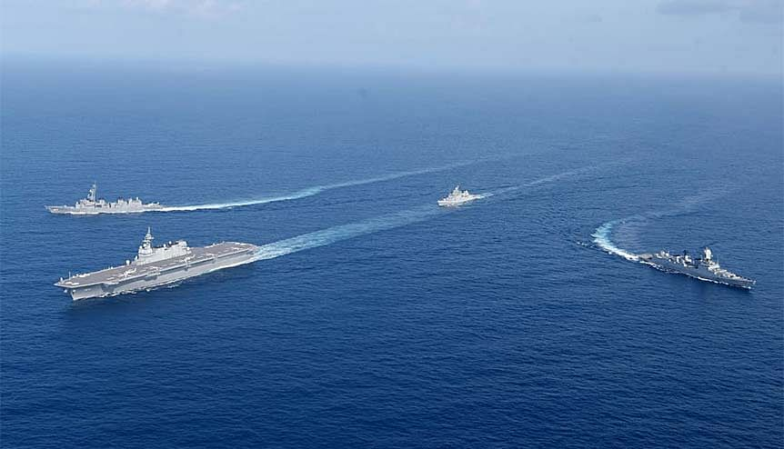 India and Japan will cooperate with other members of the QUAD - US and Australia - to counter security threats in the Indo-Pacific. Image shows the 4th edition of India-Japan Maritime bilateral exercise JIMEX, between Indian Navy and Japanese Maritime Self-Defense Force (JMSDF).