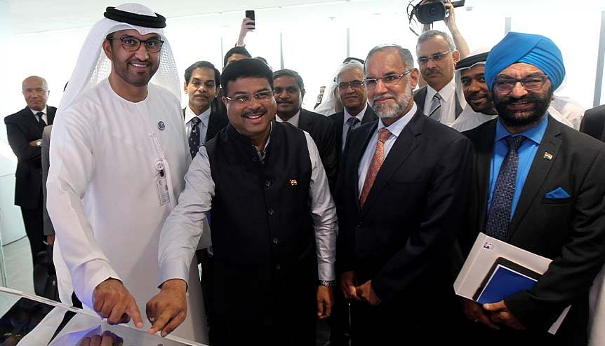 Dr Sultan Ahmed Al Jaber, UAE Minister of State and ADNOC Group CEO (L) and Indian Oil Minister Dharmendra Pradhan at the ADNOC headquarters in Abu Dhabi. A consortium of two Indian oil companies were awarded the exploration rights for an onshore block in Abu Dhabi last year.