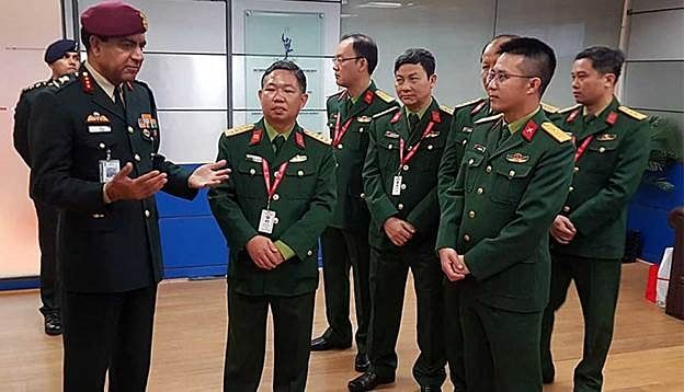 Lt General Rajeev Sabherwal with a delegation of Vietnamese army officers. Common interests between the two countries extends to military and security issues with an emphasis on curbing China's ambitions in south east Asia and the Indo-Pacific.