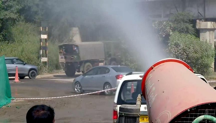 Anti-smog gun deployed in New Delhi as part of the measures being taken to control pollution. New Delhi and 13 other Indian cities feature on a list of the world's 20 most polluted.
