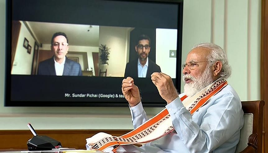 Prime Minister Narendra Modi interacts with Google CEO Sundar Pichai via VC. The PM will meet 15 of the world's largest funds to promote investments in capital-starved sectors like infrastructure, the government announced recently.Credit: Getty Image