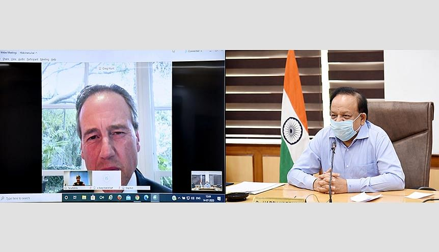 Union Minister for Health and Family Welfare Dr. Harsh Vardhan holding a virtual interaction with the Health Minister of Australia, Mr. Gregory Andrews Hunt, to discuss bilateral co-operation in the field of health. Australia's reputation has been enhanced in Indian eyes for its forthright stance on seeking an enquiry into the origins of Covid-19, and its refusal to cave in in the face of the resultant Chinese economic coercion.