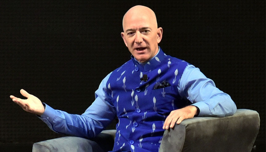 Amazon founder and CEO Jeff Bezos speaks during the Amazon SMBhav summit in India earlier this year. Amazon's announcement to set up a network of data centres could encourage other major global cloud service providers to follow suit.