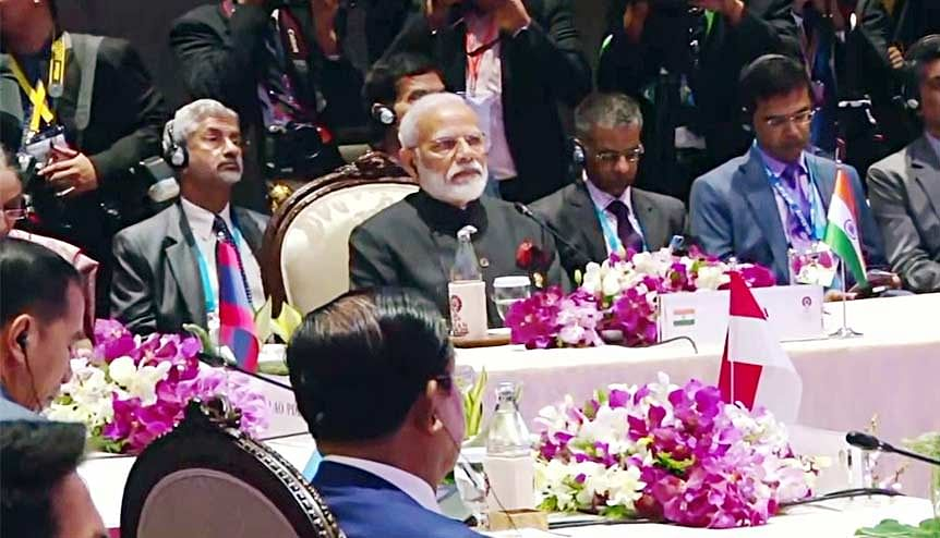 A file image of Indian PM Narendra Modi and Dr. S. Jaishankar, External Affairs Minister of India at the ASEAN summit last year. India's refusal to yet again be a signatory to the RCEP treaty shows it is protecting its self interests against a rising hegemon in the Asia region.