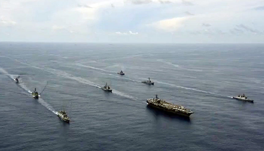 """Indian Navy holds passage exercise with US Navy′s Nimitz Aircraft Carrier in the Indian Ocean. The Obama-Biden Administration named India a """"Major Defence Partner,"""" the first time that any country was given this status, outside of the US's traditional alliance system."""